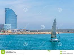 100 The W Hotel Barcelona Spain And Sailboat Sailing Editorial Stock Image