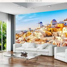 3d Wallpaper Living Room Home Improvement Modern Background Wall Painting Mural Silk Paper Greek Santorini Love Sea