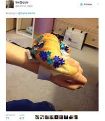 Brianna Niggs Took A Creative Route Finding Croissant And Decorating It With Blue