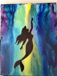 The Little Mermaid Ariel Melted Crayon Canvas Art