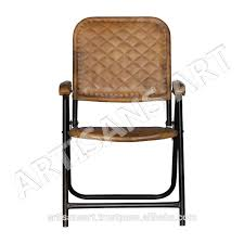 100 Folding Chairs With Arm Rests Genuine Leather Household Iron And Leather Chair