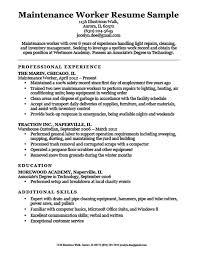 Maintenance Worker Resume Sample Download