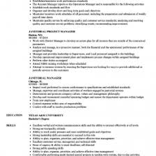 Janitorial Manager Resume Samples
