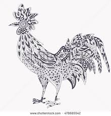 Rooster Zentangle On White BackgroundThe Logo For The New Year 2017 Chinese