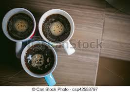 Man Making Coffee A Married With Ring On Her Finger Brew Your Morning At Breakfast For Family Three Cups Of Beverage