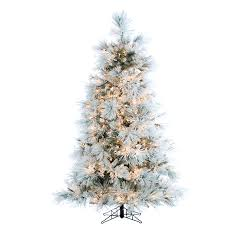 10 Foot Artificial Fraser Fir Christmas Tree by 9 Ft Flocked Snowy Pine Christmas Tree With Multi Color Led