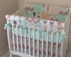 Mint crib bedding