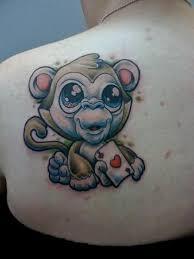 Name And Monkey Tattoo On Back
