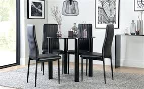 Round Dining Table Set For 4 Solar Black Glass With Chairs