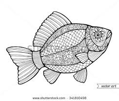 Fish Ornamental Graphic Floral Line Pattern Vector Zentangle Coloring Book