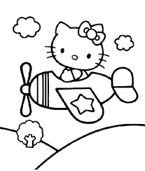 Hello Kitty Airplane Coloring Pages