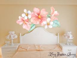 Pink Peach Coral Watercolor Floral Wall Decals
