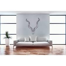 hirschgeweih aluminium wanddeko 80 cm landhausstil silber metall modern b h t ca 80 110 10cm