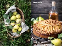 birnenkuchen rezept mit haselnuss streuseln in brauner