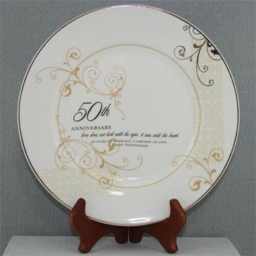 Roman 50th Wedding Anniversary Love Sees with The Heart Porcelain Plate with Stand