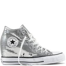 100 Star Lux Womens Pure SilverWhiteBlack Chuck Taylor All Sequin