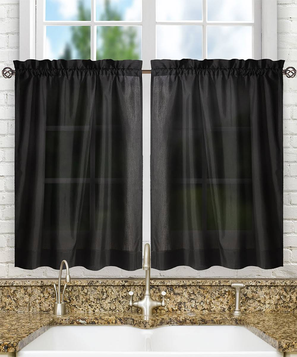 Ellis Curtain Stacey Solid Tier Curtains Black