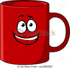 Vector Red Cartoon Coffee Mug With A Happy Face Stock Illustration Ygwadd Clipart