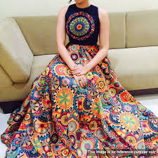 Multi Color Party Wear Semi Stitched Lehenga In 2019 Clothes