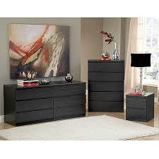 laguna double dresser 5 drawer chest and nightstand set black