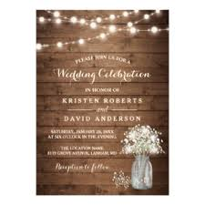 Rustic Baby39s Breath Mason Jar Lights Wedding Card