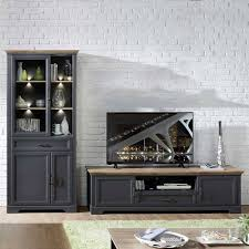 set tv lowboard vitrine in grau thumbs 2 teilig