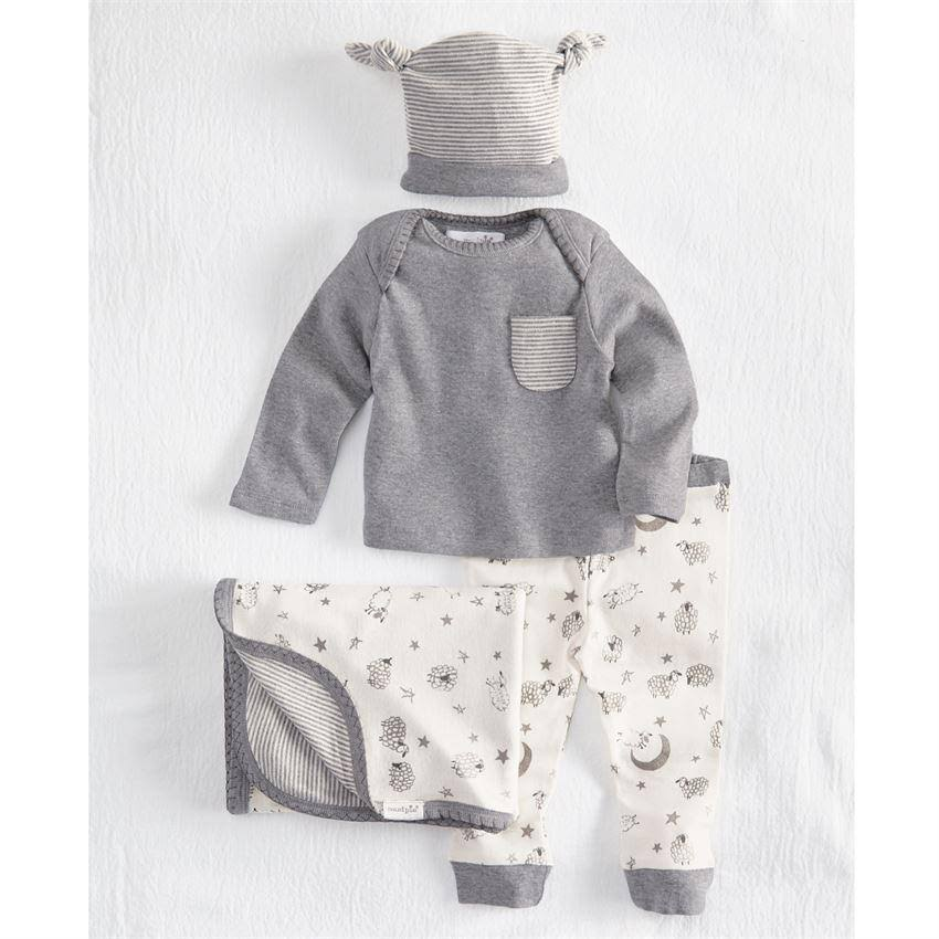 Mud Pie H8 Baby Boy Counting Sheep Layette Gift Set - 0 to 3 Months, 4 Pieces