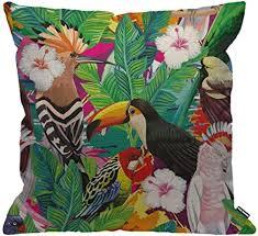 hgod designs papageienkissenbezug tropische vögel tukan blätter und hibiskusblüten deko kissenbezug heimdekoration für männer frauen wohnzimmer