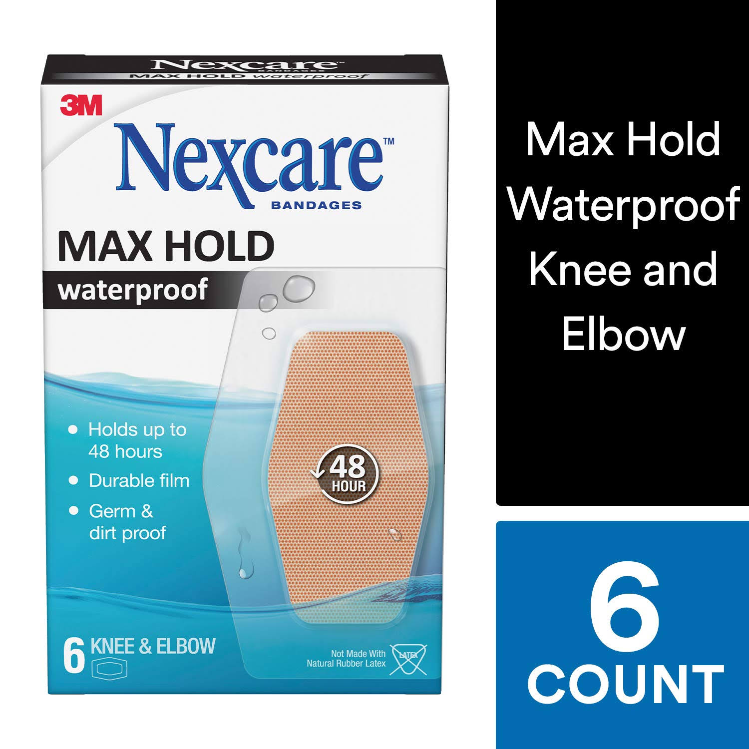 Nexcare Bandage Max Hold, Knee & Elbow 6 count