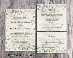 DIY Rustic Wedding Invitation Template Set Editable Word File Download Printable Vintage Silver Leaf Floral