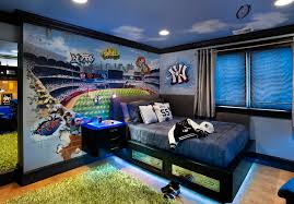 Kids RoomFascinating Charming Boys Bedroom Decor In Sport Theme With Cool Black Trundle Bed