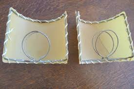50s fiberglass clip on half l shade for sconce repair needed