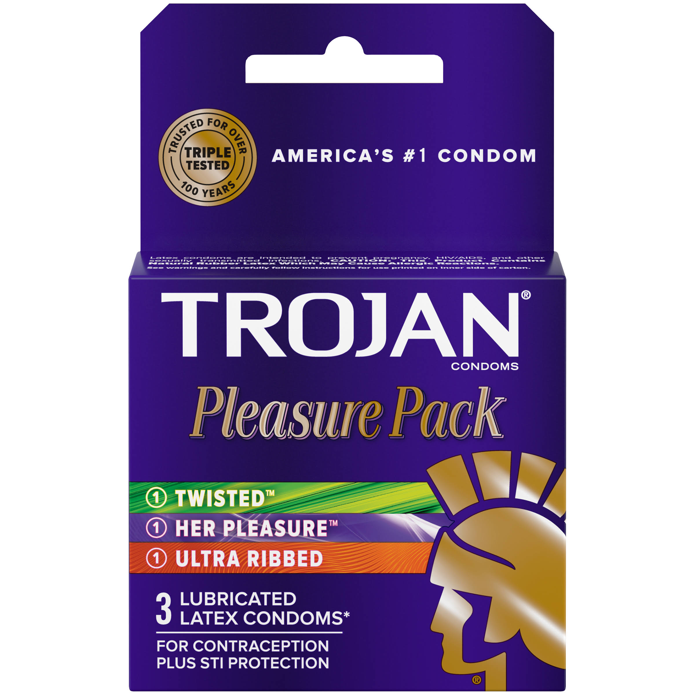 Trojan Pleasure Pack Lubricated Premium Latex Condoms - 3 Count
