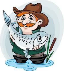 Fisherman Catch Big Fish Vector Illustration In Cartoon Style