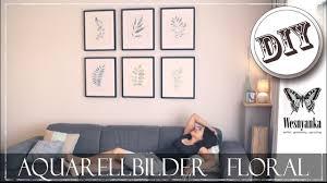diy florale aquarell bilder wohnzimmer gestalten wandgestaltung