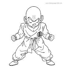 Krillin Dragon Ball Z Color Page Cartoon Characters Coloring Pages Plate