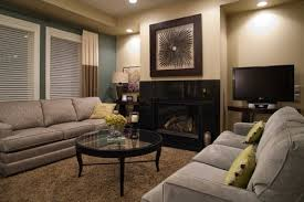 grey couch beige wall brown carpet living room pinterest