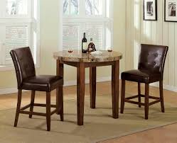 Fantastic Design Of Round Granite Top Dining Table With Wooden Legs Colored In Brown