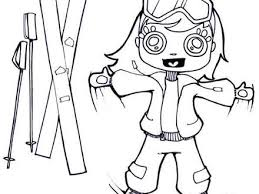Girl With Skis Coloring Pages Hellokidscom