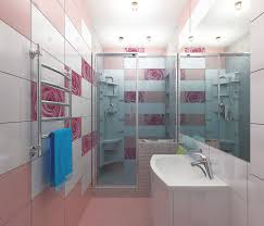 Breathtaking Pink Flower Tile Shower Room With White Sink In Apartment Bathroom Idea
