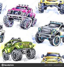 100 Trucks Cartoon Pattern Monster Stock Photo Anastezzziagmail