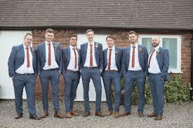 Blue Suits Red Tie Tan Shoes Groom Groomsmen Copper Dusky Lilac Grey Rustic Barn Wedding