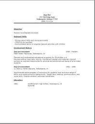 Sample Child Care Resume For Job Objective Worker