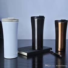 300ml Capacity Simple Design White Gold Black Starbucks Stainless Coffee Mug Cup With Nice Packaging Box Online