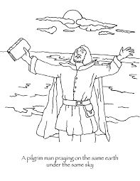 Pilgrim Praying Thanksgiving Coloring Page Many Hoops