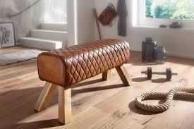 wohnling sitzbank echtleder massivholz 89x46x35 cm leder modern turnbock