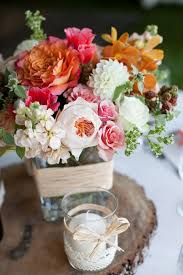 Pink Peach And Rose Wedding Florals Rustic Centerpiece