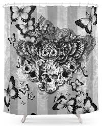 Black And White Flower Shower Curtain by Society6 Lost And Found Floral Owl With Sugar Skull Shower