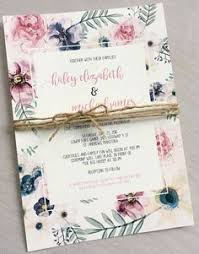 Elegant Boho Floral Wedding Invitation Rustic Modern Chic