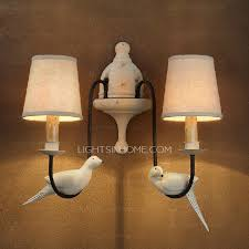 2 light fabric shade wall lights for country style craftsman wall